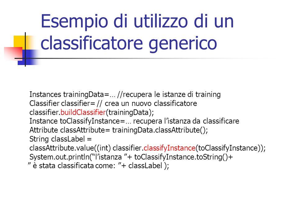 Esempio di utilizzo di un classificatore generico Instances trainingData=… //recupera le istanze di training Classifier classifier= // crea un nuovo classificatore classifier.buildClassifier(trainingData); Instance toClassifyInstance=… recupera listanza da classificare Attribute classAttribute= trainingData.classAttribute(); String classLabel = classAttribute.value((int) classifier.classifyInstance(toClassifyInstance)); System.out.println(listanza + toClassifyInstance.toString()+ è stata classificata come: + classLabel );