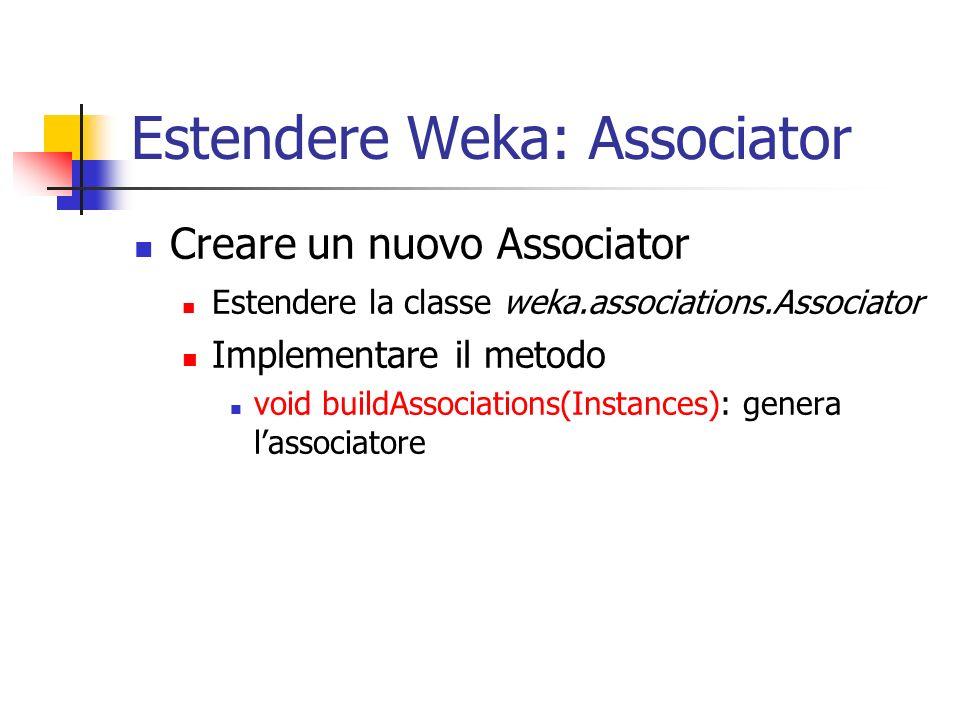 Estendere Weka: Associator Creare un nuovo Associator Estendere la classe weka.associations.Associator Implementare il metodo void buildAssociations(Instances): genera lassociatore