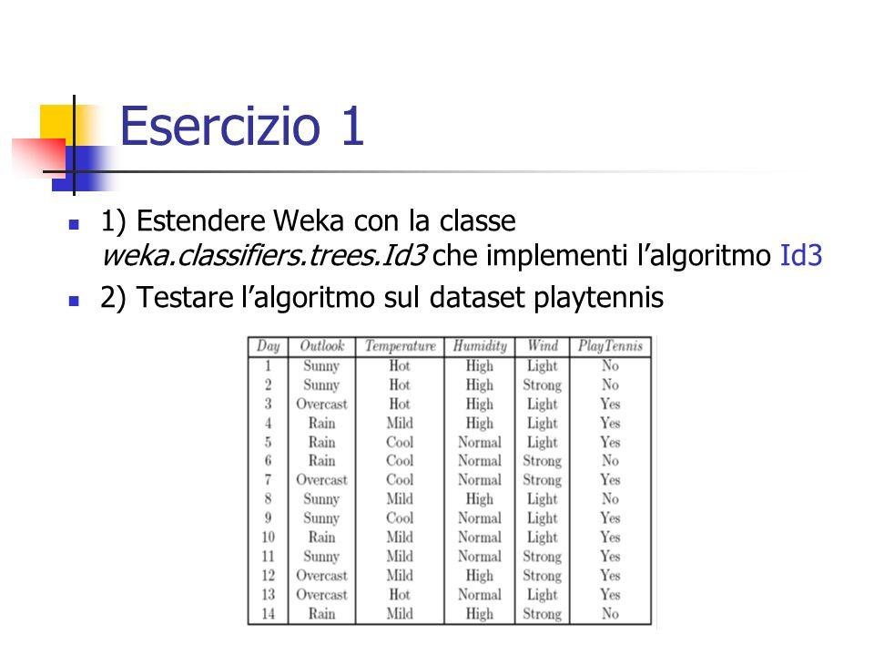 Esercizio 1 1) Estendere Weka con la classe weka.classifiers.trees.Id3 che implementi lalgoritmo Id3 2) Testare lalgoritmo sul dataset playtennis