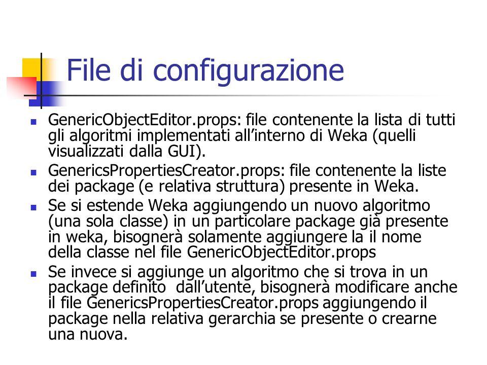 File di configurazione GenericObjectEditor.props: file contenente la lista di tutti gli algoritmi implementati allinterno di Weka (quelli visualizzati dalla GUI).