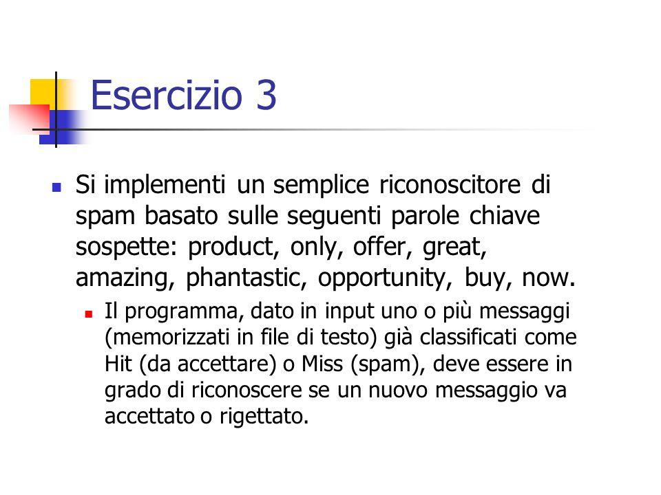 Esercizio 3 Si implementi un semplice riconoscitore di spam basato sulle seguenti parole chiave sospette: product, only, offer, great, amazing, phantastic, opportunity, buy, now.
