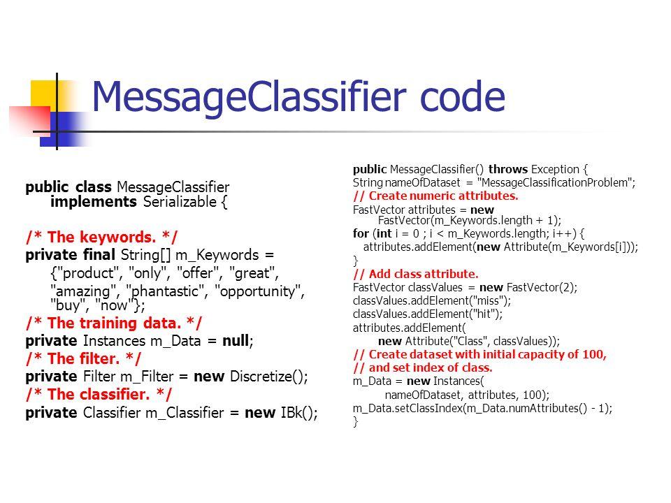 MessageClassifier code public class MessageClassifier implements Serializable { /* The keywords.