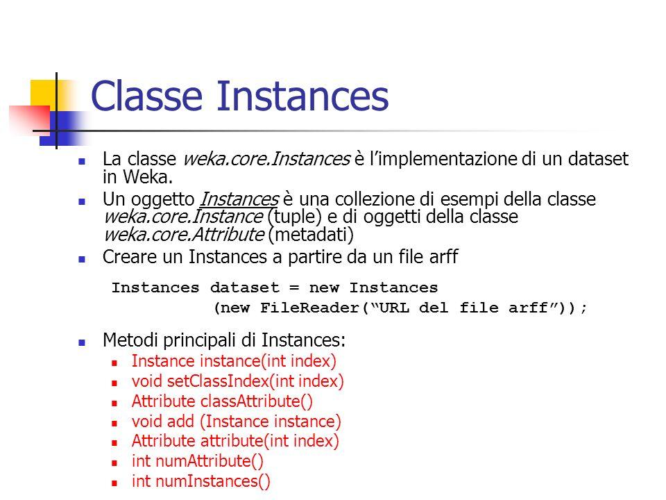 Classe Instances La classe weka.core.Instances è limplementazione di un dataset in Weka.