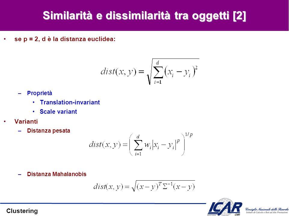 Clustering Similarità e dissimilarità tra oggetti [2] se p = 2, d è la distanza euclidea: –Proprietà Translation-invariant Scale variant Varianti –Dis