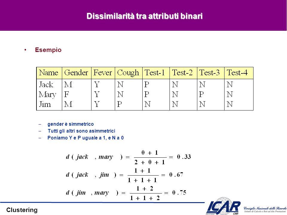 Clustering Dissimilarità tra attributi binari Esempio –gender è simmetrico –Tutti gli altri sono asimmetrici –Poniamo Y e P uguale a 1, e N a 0