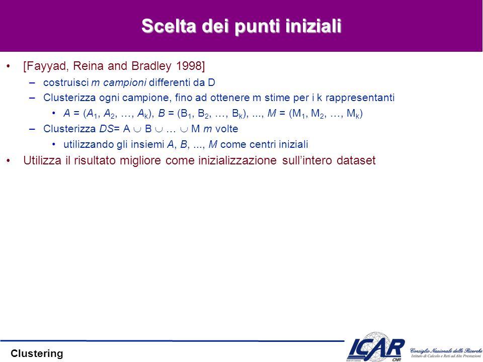 Clustering Scelta dei punti iniziali [Fayyad, Reina and Bradley 1998] –costruisci m campioni differenti da D –Clusterizza ogni campione, fino ad otten