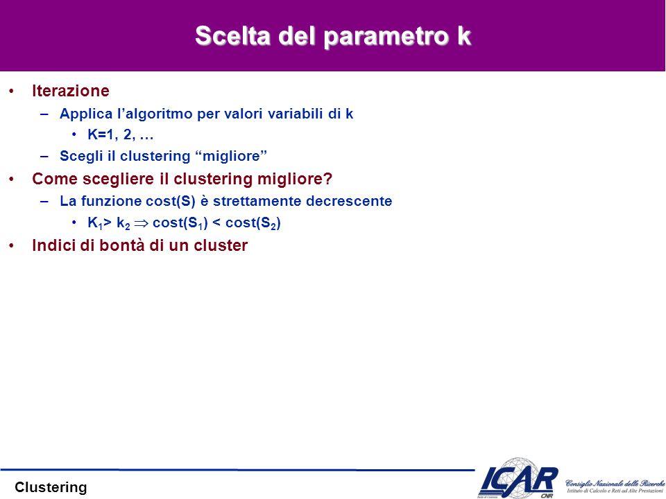 Clustering Scelta del parametro k Iterazione –Applica lalgoritmo per valori variabili di k K=1, 2, … –Scegli il clustering migliore Come scegliere il