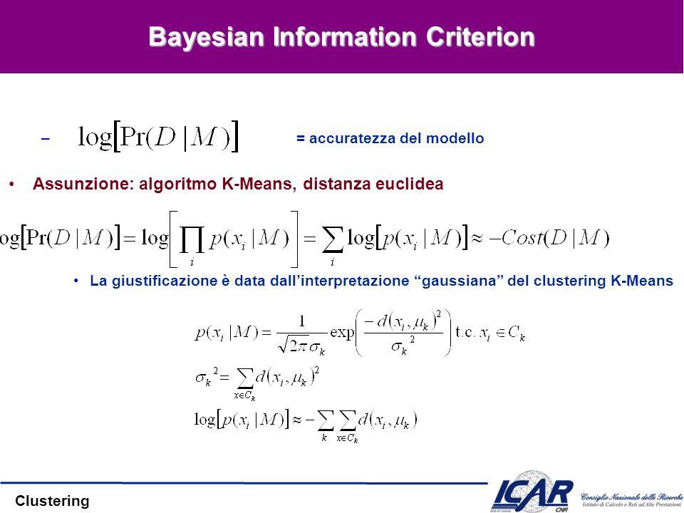 Clustering Bayesian Information Criterion – = accuratezza del modello Assunzione: algoritmo K-Means, distanza euclidea La giustificazione è data dalli