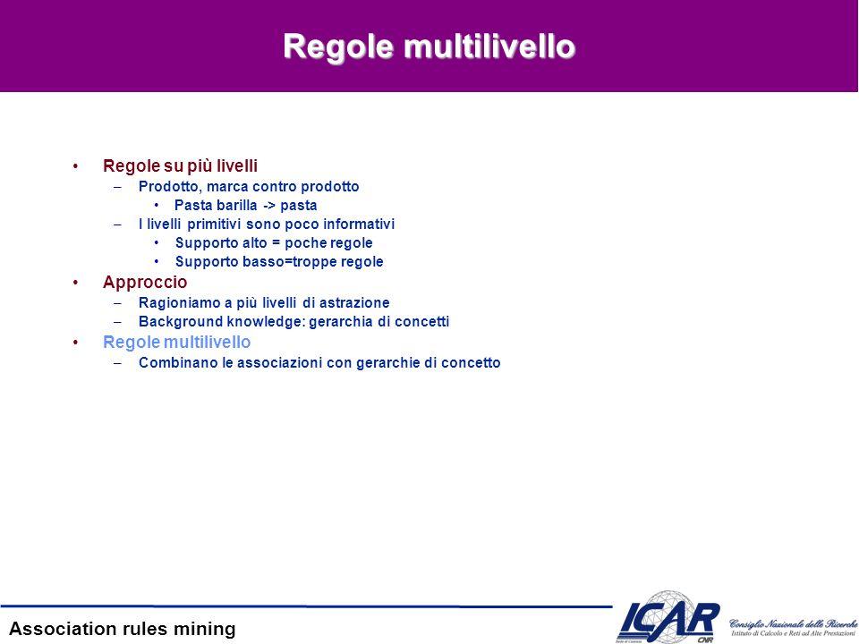 Association rules mining Regole multilivello Regole su più livelli –Prodotto, marca contro prodotto Pasta barilla -> pasta –I livelli primitivi sono p