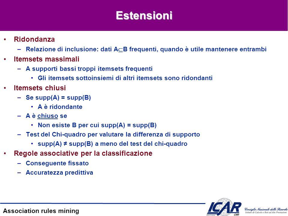 Association rules mining Estensioni Ridondanza –Relazione di inclusione: dati A B frequenti, quando è utile mantenere entrambi Itemsets massimali –A s