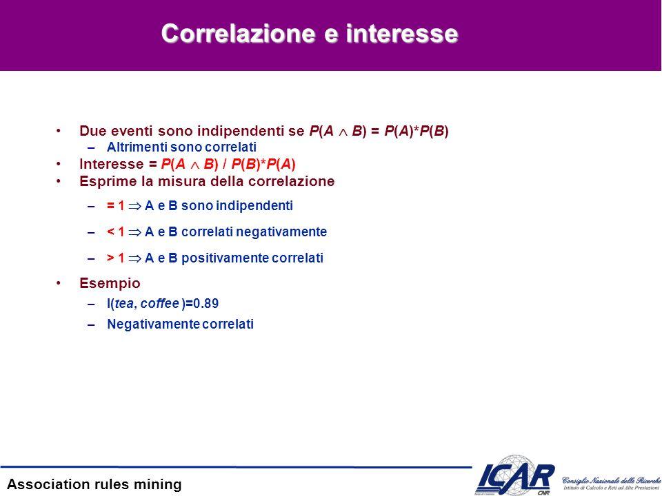 Association rules mining Correlazione e interesse Due eventi sono indipendenti se P(A B) = P(A)*P(B) –Altrimenti sono correlati Interesse = P(A B) / P