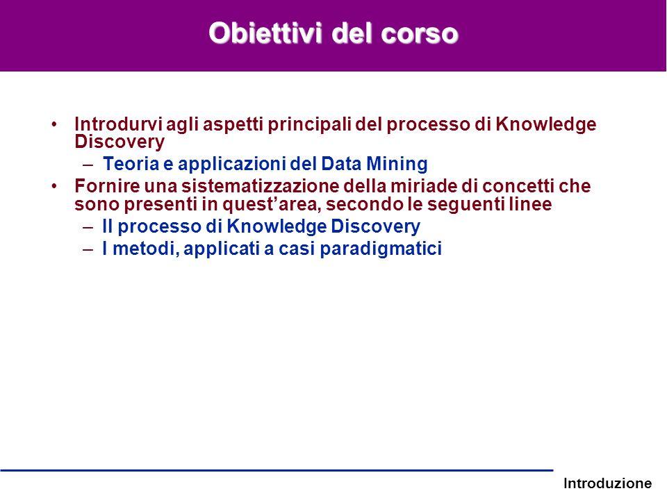 Introduzione Obiettivi del corso Introdurvi agli aspetti principali del processo di Knowledge Discovery –Teoria e applicazioni del Data Mining Fornire