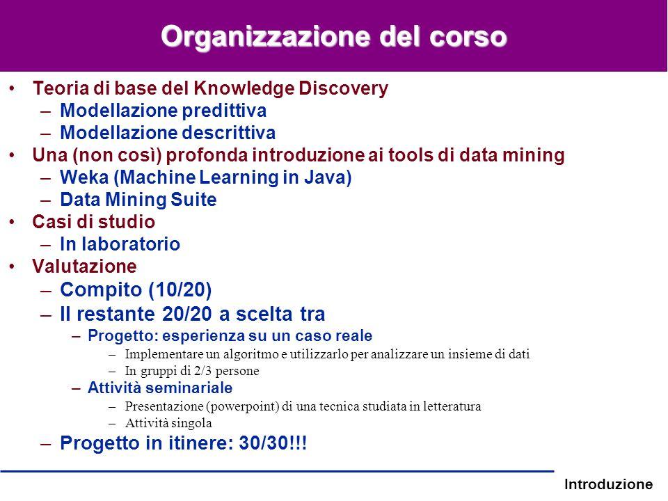 Introduzione Organizzazione del corso Teoria di base del Knowledge Discovery –Modellazione predittiva –Modellazione descrittiva Una (non così) profond