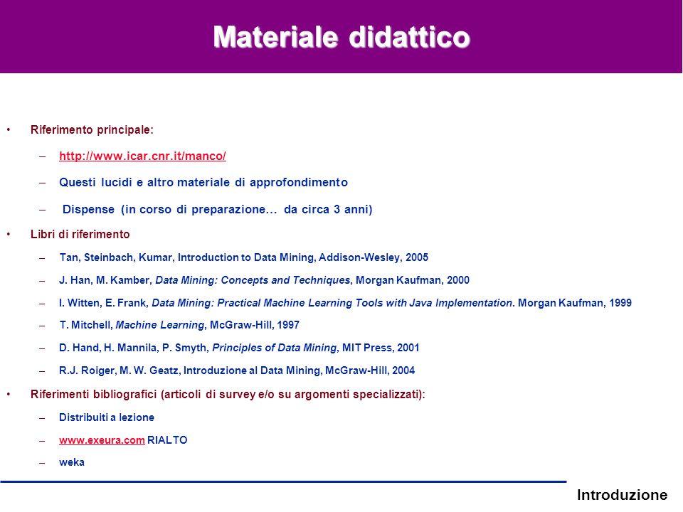 Introduzione Riferimento principale: –http://www.icar.cnr.it/manco/http://www.icar.cnr.it/manco/ –Questi lucidi e altro materiale di approfondimento –