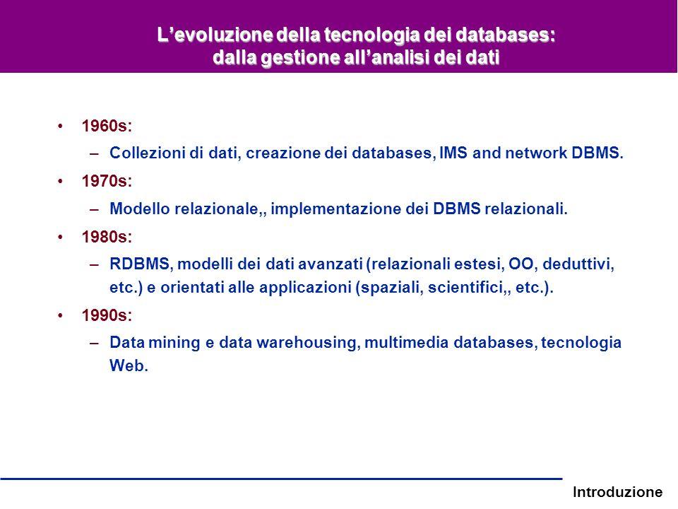 Introduzione Levoluzione della tecnologia dei databases: dalla gestione allanalisi dei dati 1960s: –Collezioni di dati, creazione dei databases, IMS a