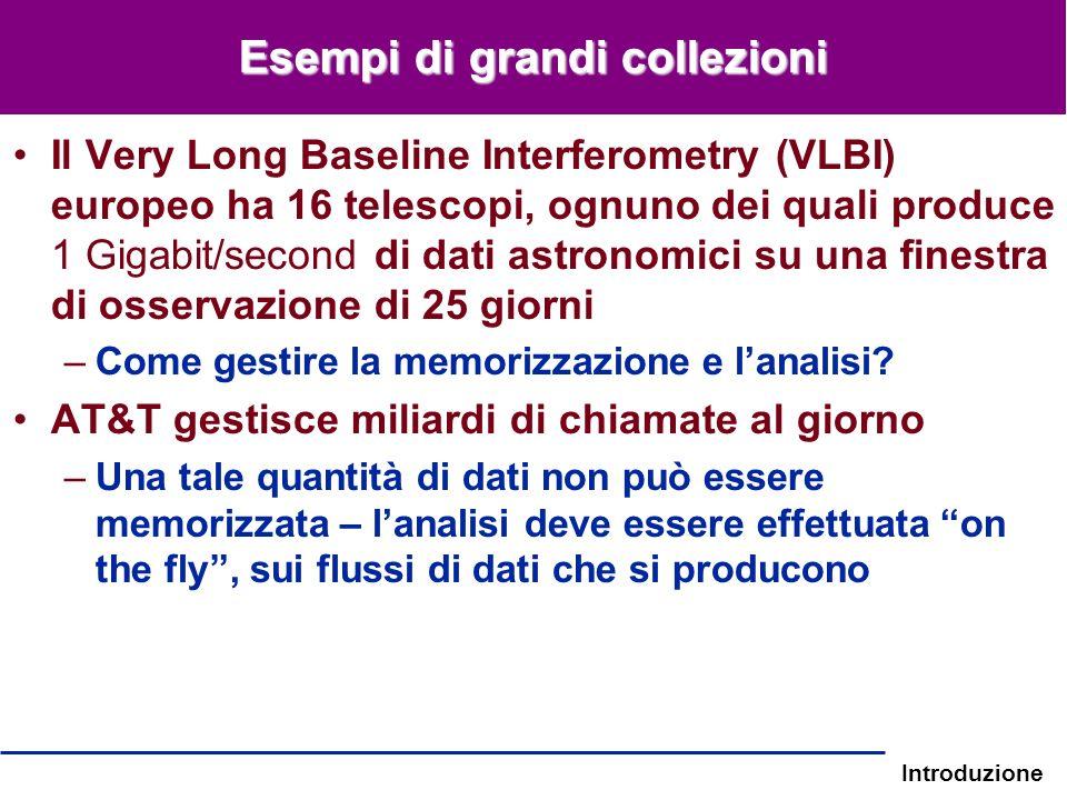Introduzione Esempi di grandi collezioni Il Very Long Baseline Interferometry (VLBI) europeo ha 16 telescopi, ognuno dei quali produce 1 Gigabit/secon