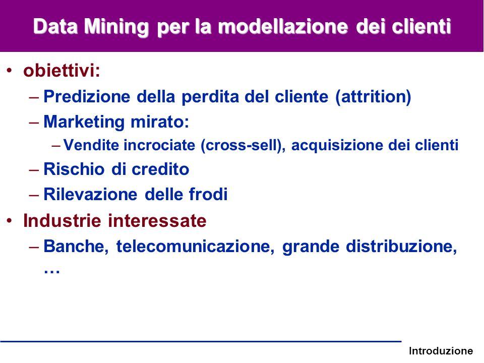 Introduzione Data Mining per la modellazione dei clienti obiettivi: –Predizione della perdita del cliente (attrition) –Marketing mirato: –Vendite incr