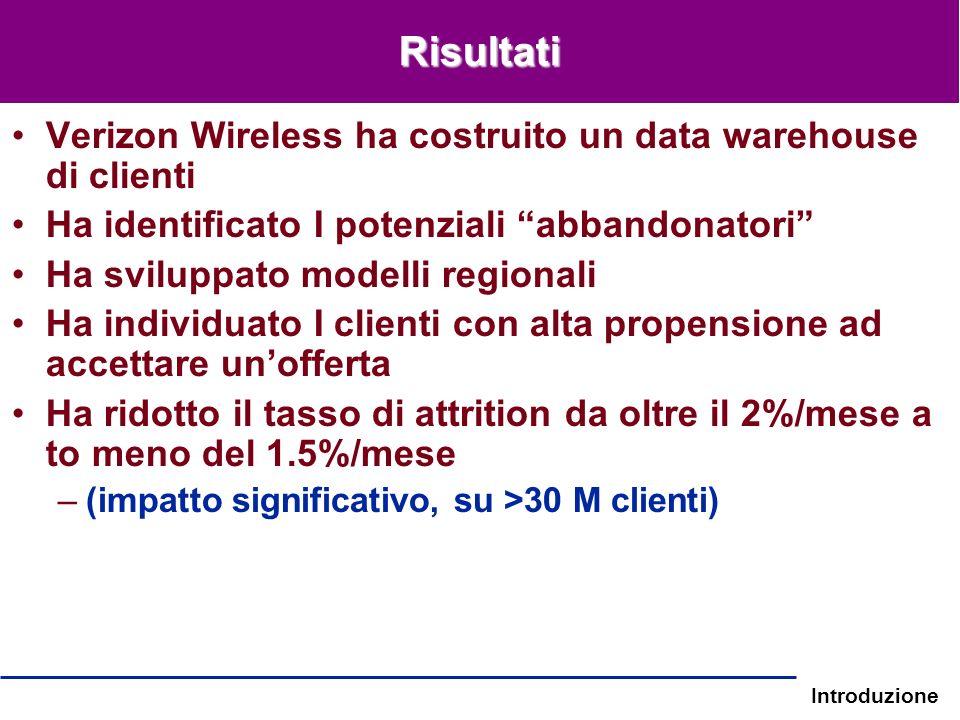 Introduzione Risultati Verizon Wireless ha costruito un data warehouse di clienti Ha identificato I potenziali abbandonatori Ha sviluppato modelli reg