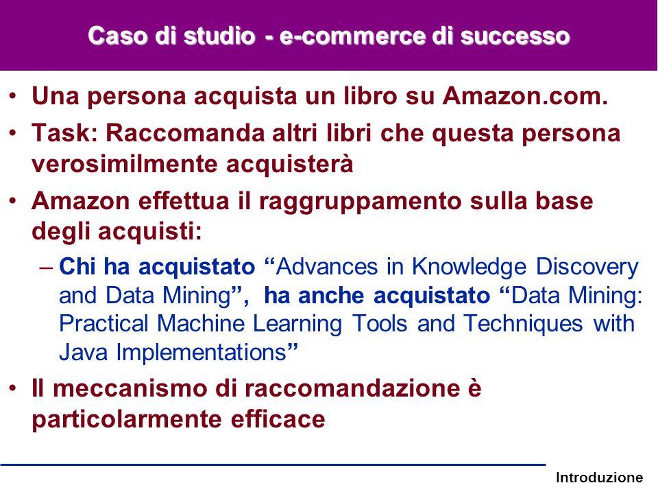 Introduzione Caso di studio - e-commerce di successo Una persona acquista un libro su Amazon.com. Task: Raccomanda altri libri che questa persona vero