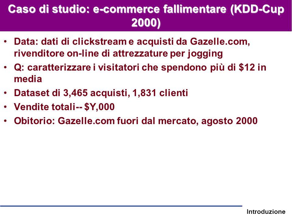Introduzione Caso di studio: e-commerce fallimentare (KDD-Cup 2000) Data: dati di clickstream e acquisti da Gazelle.com, rivenditore on-line di attrez