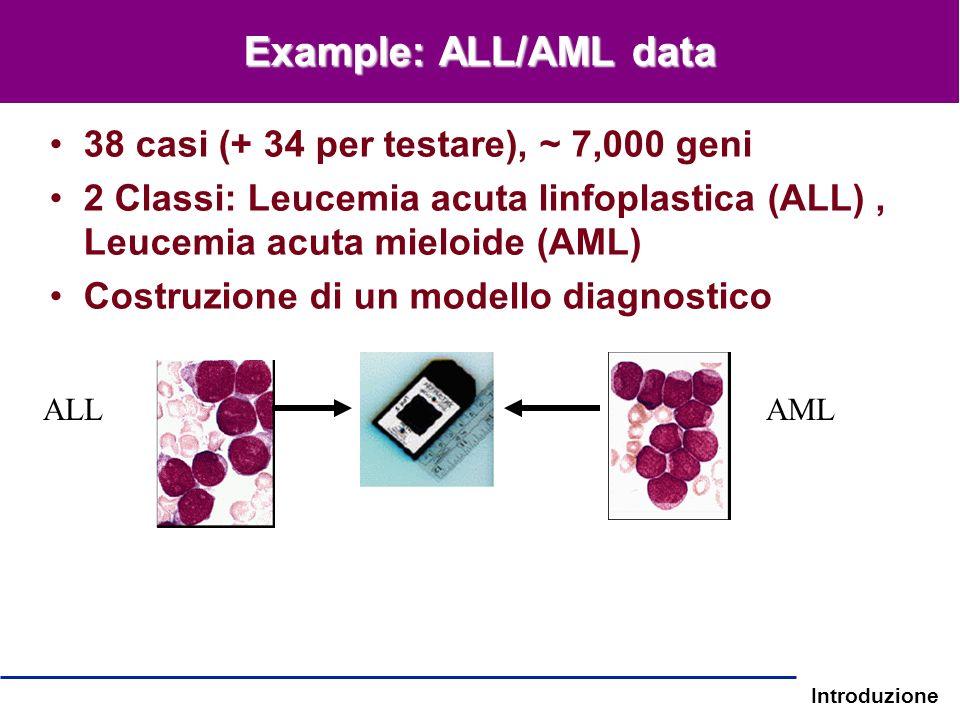 Introduzione Example: ALL/AML data 38 casi (+ 34 per testare), ~ 7,000 geni 2 Classi: Leucemia acuta linfoplastica (ALL), Leucemia acuta mieloide (AML