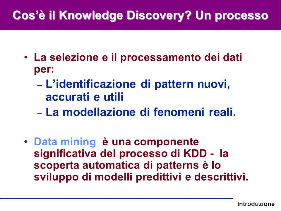 Introduzione La selezione e il processamento dei dati per: – Lidentificazione di pattern nuovi, accurati e utili – La modellazione di fenomeni reali.
