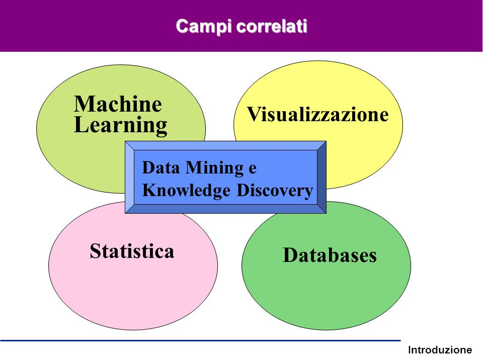 Introduzione Campi correlati Statistica Machine Learning Databases Visualizzazione Data Mining e Knowledge Discovery