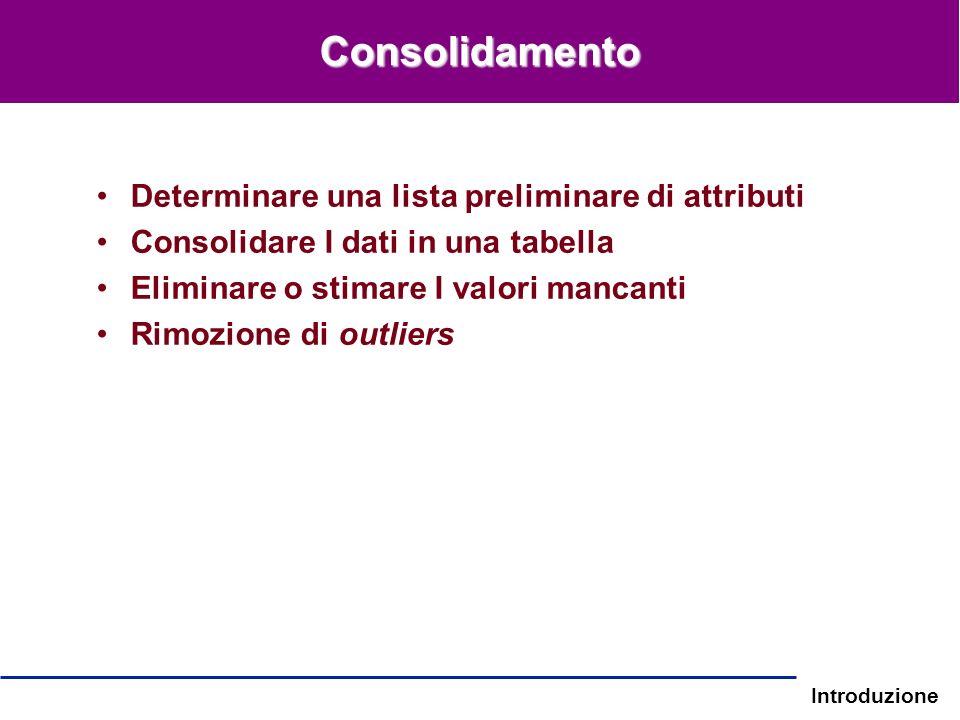 Introduzione Determinare una lista preliminare di attributi Consolidare I dati in una tabella Eliminare o stimare I valori mancanti Rimozione di outli