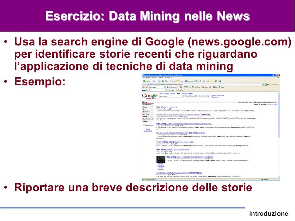 Introduzione Esercizio: Data Mining nelle News Usa la search engine di Google (news.google.com) per identificare storie recenti che riguardano lapplic