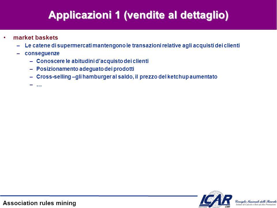 Association rules mining Applicazioni 2 (Information Retrieval) Scenario 1 –baskets = documenti –items = parole –Gruppi di parole frequenti = concetti correlati.