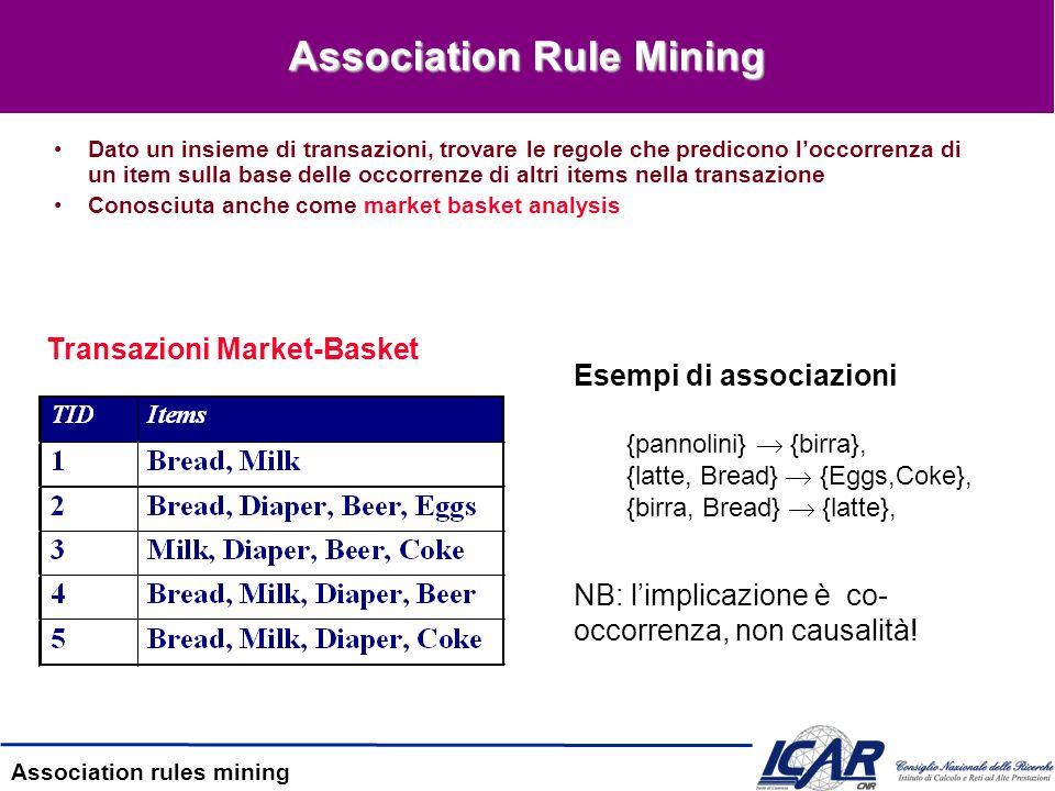 Association rules mining Il contesto Abitudini del cliente tramite lanalisi delle correlazioni tra le varie cose che il cliente acquista Customer1 Customer2 Customer3 latte, eggs, sugar, bread latte, eggs, cereal, breadEggs, sugar