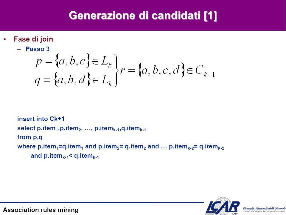 Association rules mining Generazione candidati [2] Fase di pruning –Passo 3 –Inizialmente, –Eliminiamo {a,c,d,e} {c,d,e} L 3