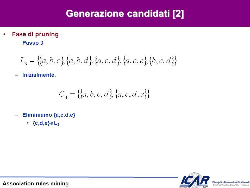 Association rules mining Generazione degli itemsets frequenti Conteggio dei candidati –Passo 6 Perché è problematico.