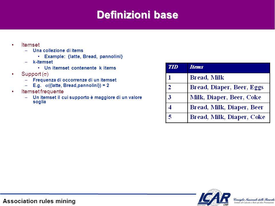 Association rules mining Definizioni base [2] Transazione –Formato relazionale –Formato colonnare –Formato compatto