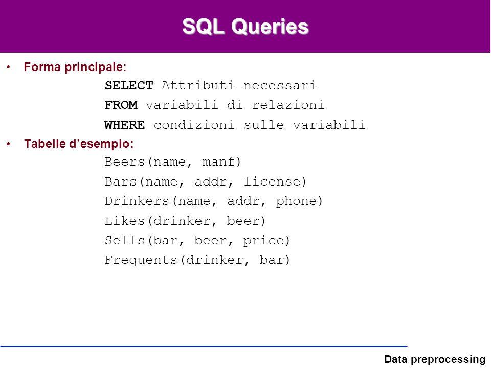 Data preprocessing SQL Queries Forma principale: SELECT Attributi necessari FROM variabili di relazioni WHERE condizioni sulle variabili Tabelle desem