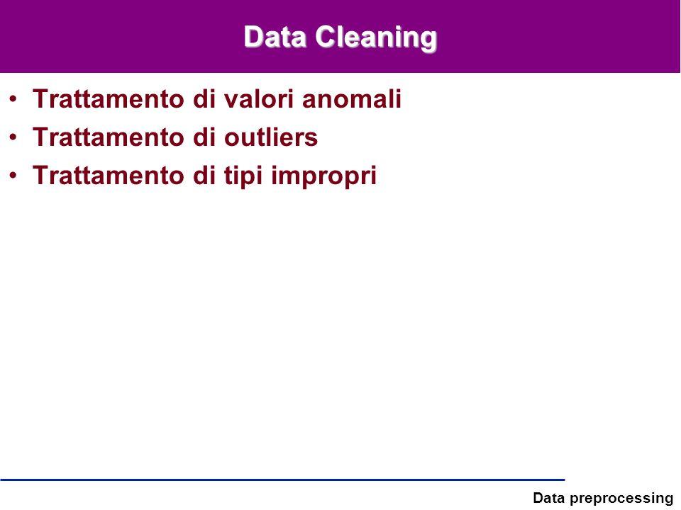 Data preprocessing Data Cleaning Trattamento di valori anomali Trattamento di outliers Trattamento di tipi impropri