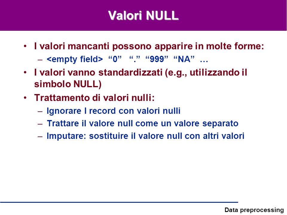 Data preprocessing Valori NULL I valori mancanti possono apparire in molte forme: – 0. 999 NA … I valori vanno standardizzati (e.g., utilizzando il si