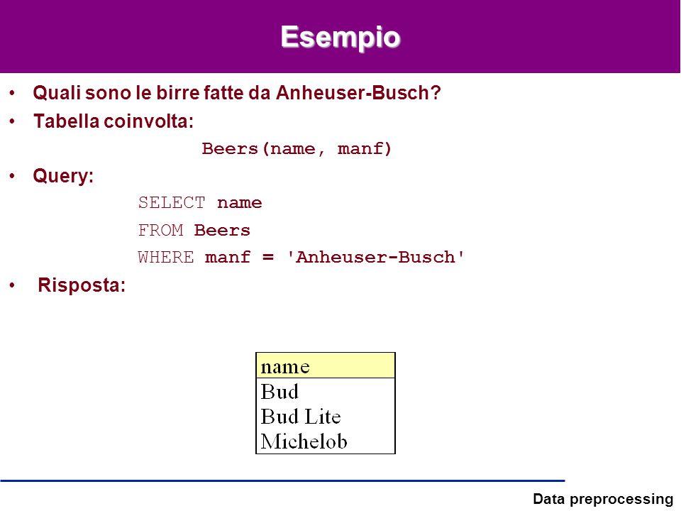 Data preprocessing Esempio Quali sono le birre fatte da Anheuser-Busch? Tabella coinvolta: Beers(name, manf) Query: SELECT name FROM Beers WHERE manf