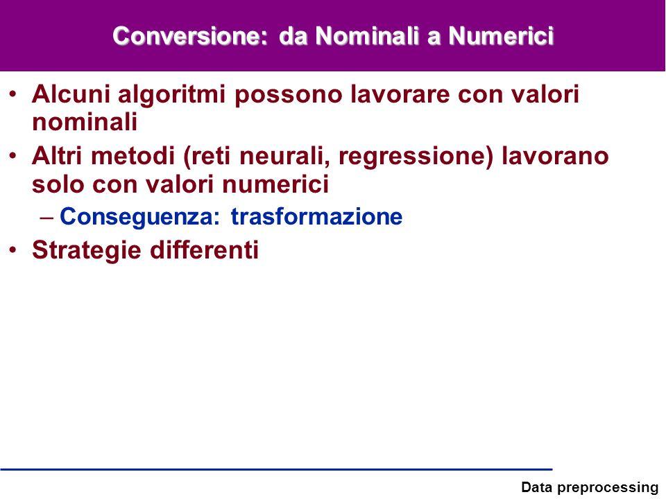 Data preprocessing Conversione: da Nominali a Numerici Alcuni algoritmi possono lavorare con valori nominali Altri metodi (reti neurali, regressione)