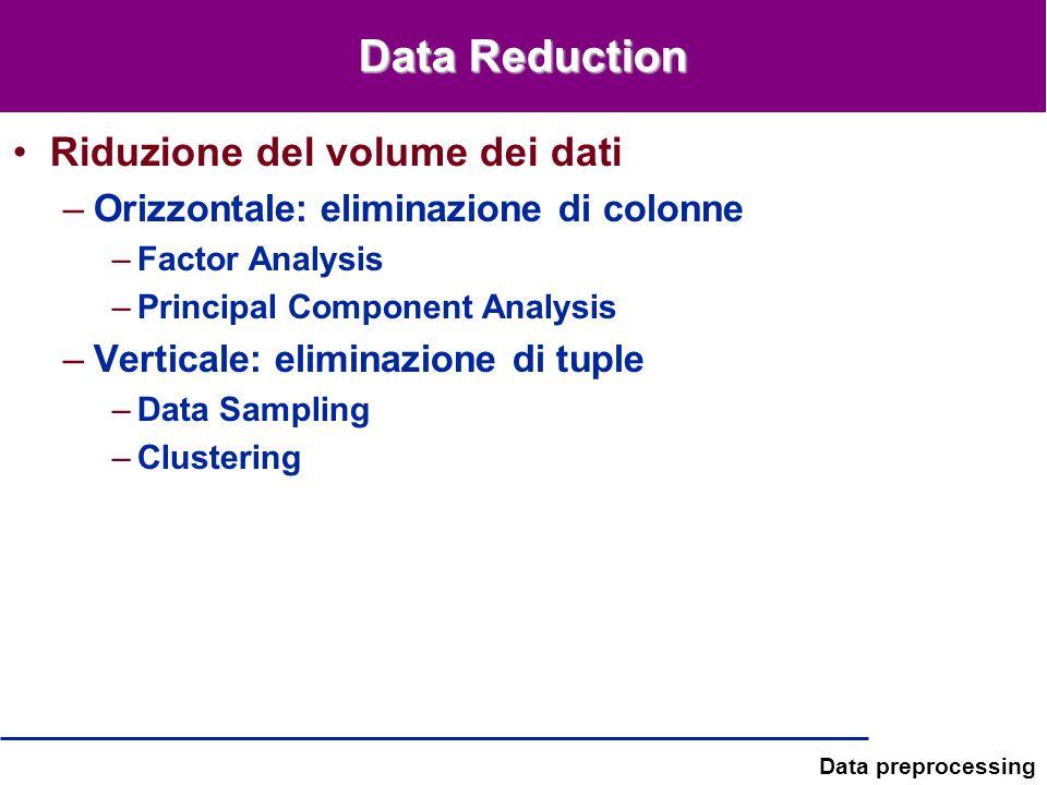 Data preprocessing Data Reduction Riduzione del volume dei dati –Orizzontale: eliminazione di colonne –Factor Analysis –Principal Component Analysis –