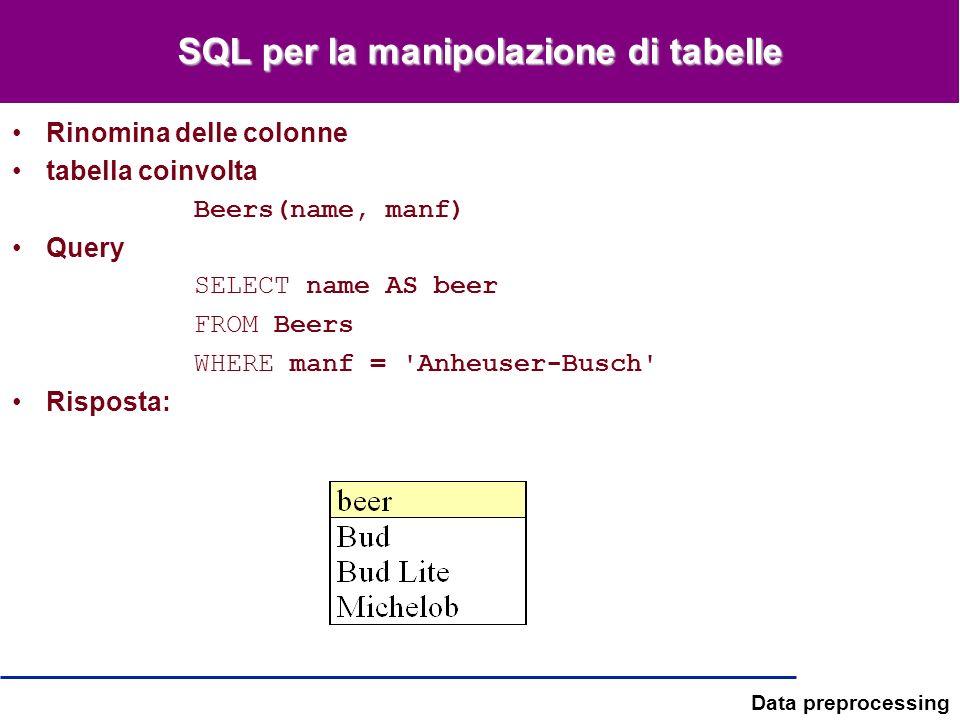 Data preprocessing SQL per la manipolazione di tabelle Rinomina delle colonne tabella coinvolta Beers(name, manf) Query SELECT name AS beer FROM Beers