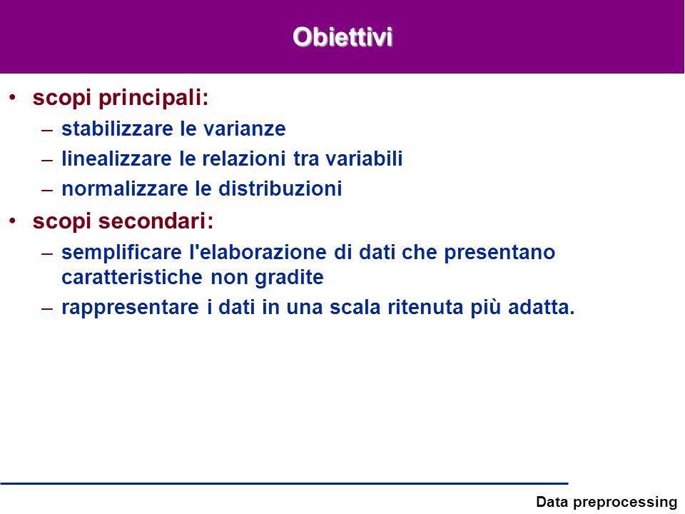 Data preprocessing Obiettivi scopi principali: –stabilizzare le varianze –linealizzare le relazioni tra variabili –normalizzare le distribuzioni scopi