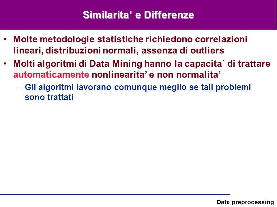 Data preprocessing Similarita e Differenze Molte metodologie statistiche richiedono correlazioni lineari, distribuzioni normali, assenza di outliers M