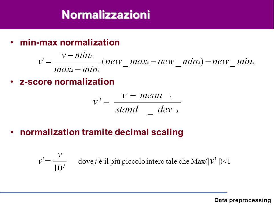 Data preprocessing Normalizzazioni min-max normalization z-score normalization normalization tramite decimal scaling dove j è il più piccolo intero ta