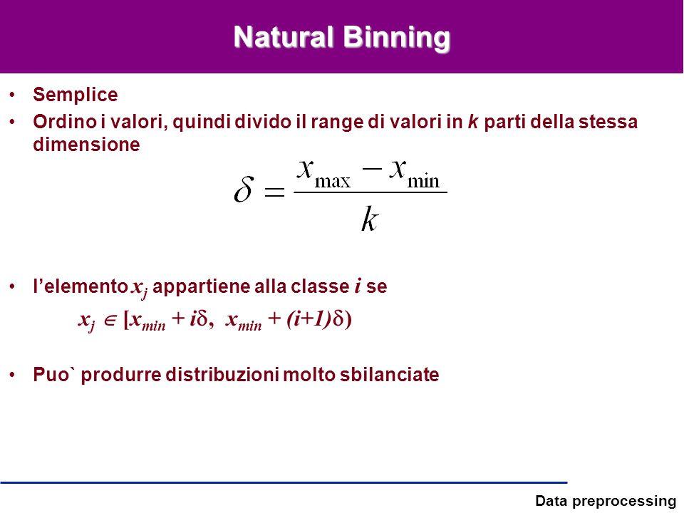 Data preprocessing Natural Binning Semplice Ordino i valori, quindi divido il range di valori in k parti della stessa dimensione lelemento x j apparti