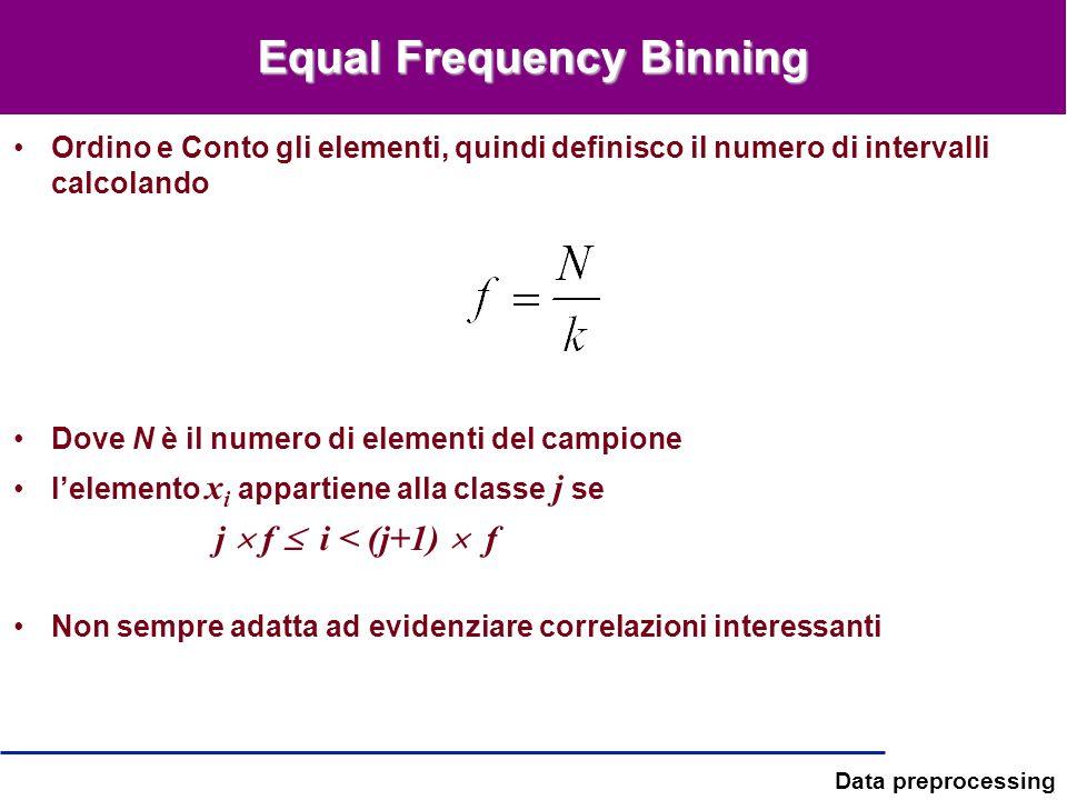 Data preprocessing Equal Frequency Binning Ordino e Conto gli elementi, quindi definisco il numero di intervalli calcolando Dove N è il numero di elem