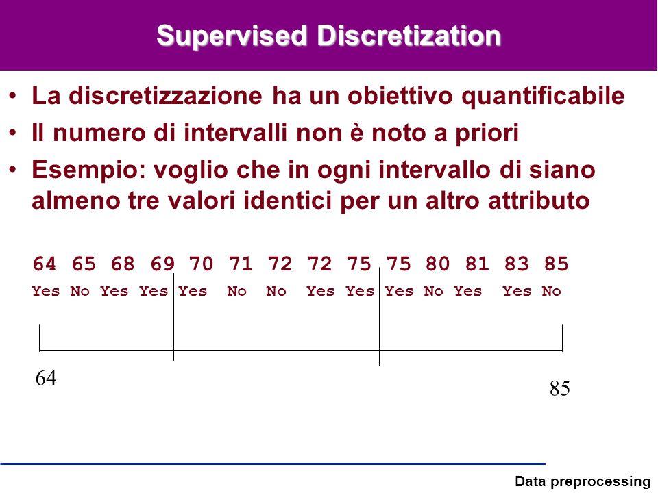 Data preprocessing Supervised Discretization La discretizzazione ha un obiettivo quantificabile Il numero di intervalli non è noto a priori Esempio: v