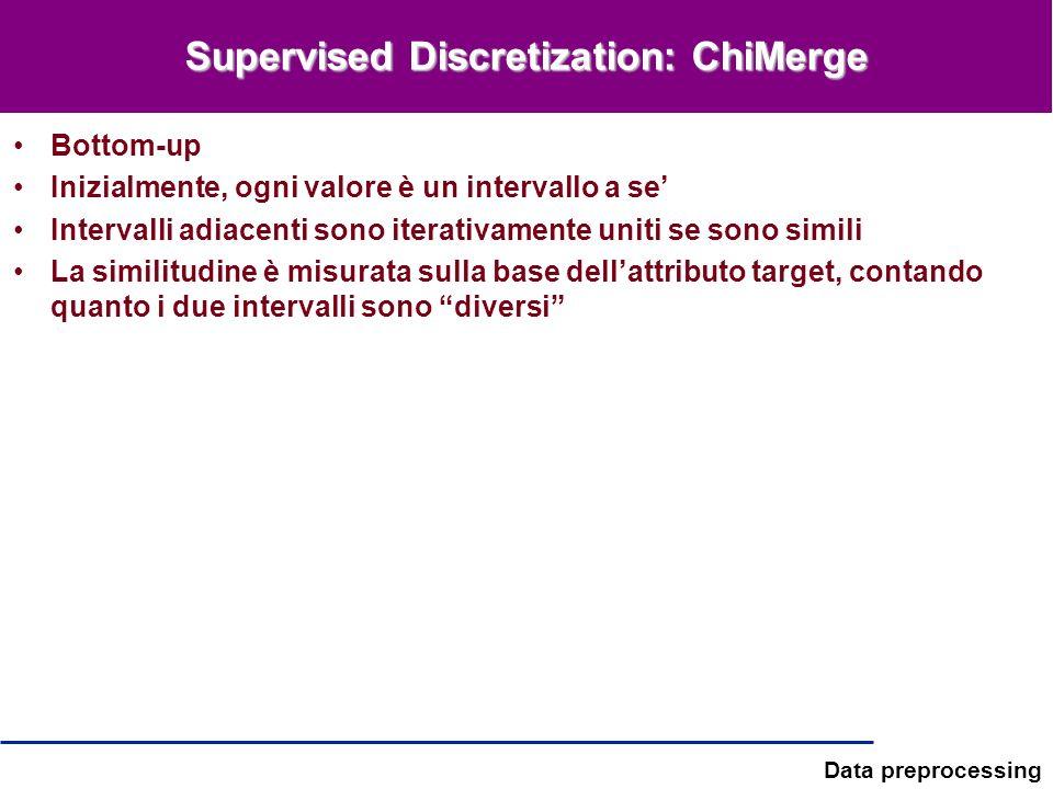 Data preprocessing Supervised Discretization: ChiMerge Bottom-up Inizialmente, ogni valore è un intervallo a se Intervalli adiacenti sono iterativamen