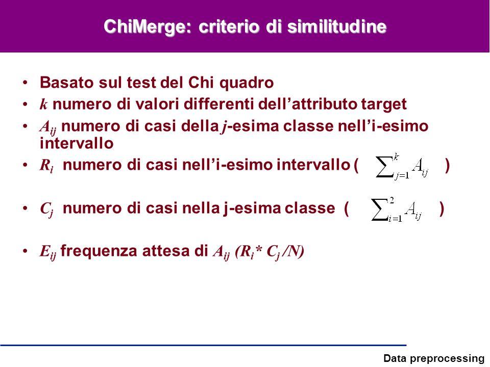 Data preprocessing ChiMerge: criterio di similitudine Basato sul test del Chi quadro k numero di valori differenti dellattributo target A ij numero di