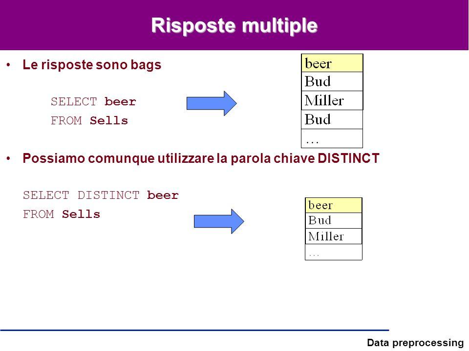 Data preprocessing Risposte multiple Le risposte sono bags SELECT beer FROM Sells Possiamo comunque utilizzare la parola chiave DISTINCT SELECT DISTIN